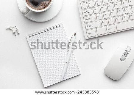 Overhead Office Table Notebook Computer Keyboard Stock Photo
