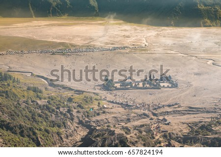 View from above to see a lot of tourists, the way to Bromo with sunrise located in Bromo Tengger Semeru National Park, East Java, Indonesia.