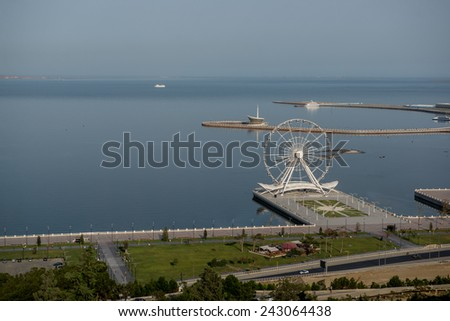 View from above to the highland Park to the Baky seafront and Baku eye - stock photo