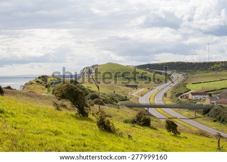View from above to the highway in Dover, UK - stock photo