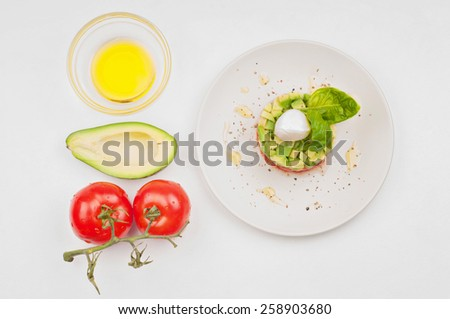 View from above to the tomatoe, avocado and plate - stock photo
