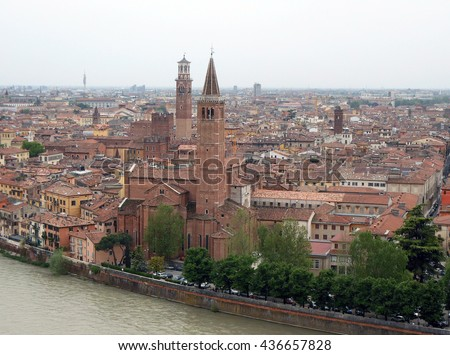 View from above to the Verona city, Italy - stock photo