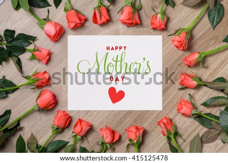 View from above with copy space. Banner template layout mockup for woman day. White wooden table, top view on workplace. Roses and Hearts at the Desk. - stock photo