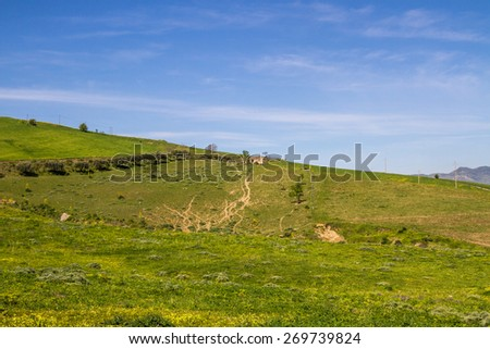 view from Agira on hinterland and Pozzillo Lake, on background volcano Etna - stock photo