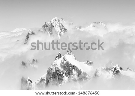 View from Aiguille du Midi, France - stock photo