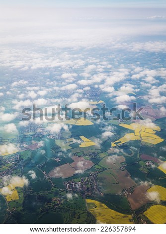 View from airplane England, Uk - stock photo