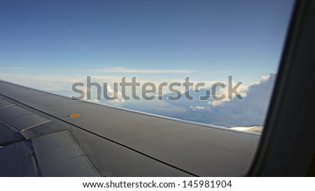 View from airplane window inside the clouds                   - stock photo