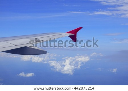 View from airplane window with blue sky and white clouds,select focus with shallow depth of field:ideal use for background.