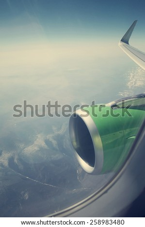 View from airplane window with room for text  - stock photo