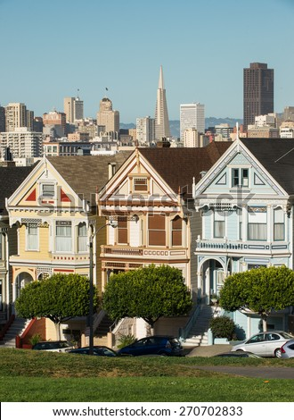View from Alamo Square during sunny day San Francisco.