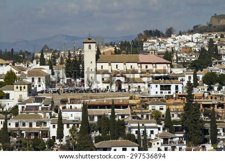 View from Alhambra to old Muslim quarter, the Albayzin  - stock photo