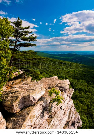 View from Annapolis Rocks, along the Appalachian Train on South Mountain, Maryland - stock photo