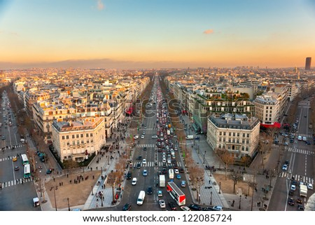 View from Arc de triomphe of Champs elysees, Paris. - stock photo