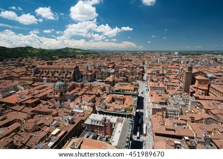 view from Asinelli Tower of via San Vitale in Bologna, Italy - stock photo