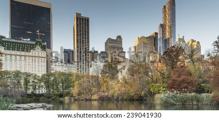 View from at Gaptow bridge in autumn toward the Plaza hotel - stock photo