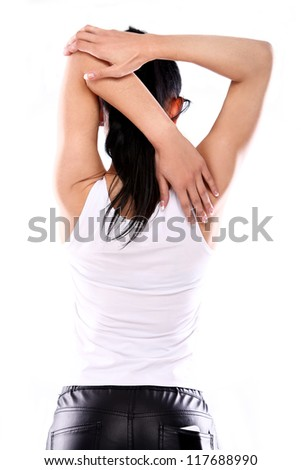View from back Slim fitness girl do her exercise - stock photo