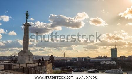 View from Belgrade fortress - Kalemegdan - stock photo