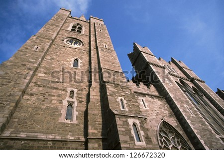 View from below of Saint Patrick church in Dublin, Ireland - stock photo