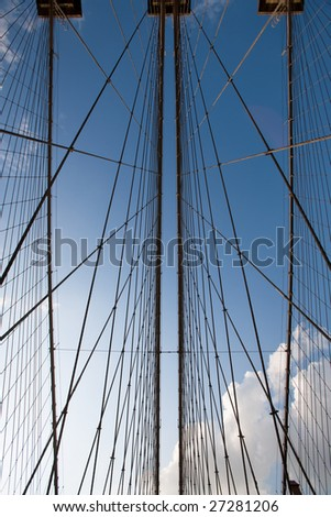 View from below on suspension cables of the Brooklyn Bridge