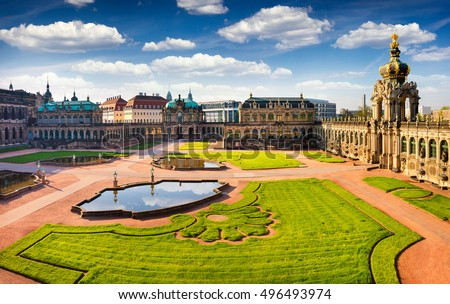 View from bird's eye of famous Zwinger palace (Der Dresdner Zwinger) Art Gallery of Dresden. Colorful spring scene in Dresden, Saxony, Germany, Europe. Artistic style post processed photo.