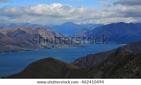 View from Breast Hill, Otago. Lake Hawea and mountains. Landscape in New Zealand.