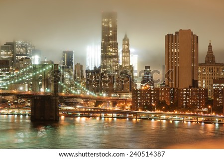 View from Brooklyn on Manhattan skyscrapers and Hudson River at night