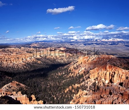 View from Bryce Point looking North East, Bryce Canyon National Park, Utah, USA. - stock photo