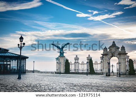 View from Buda palace in Budapest Hungary. - stock photo