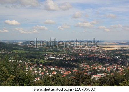 view from burgberg over bad harzburg - stock photo