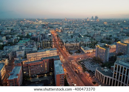 View from Business Center Domnikov to Sakharov avenue at evening in Moscow, Russia - stock photo