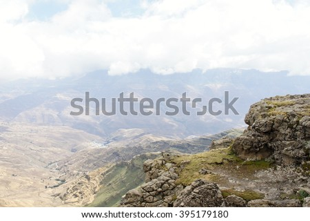 View from Bwahit pass to Rash Dashen in clouds, Ethiopia - stock photo