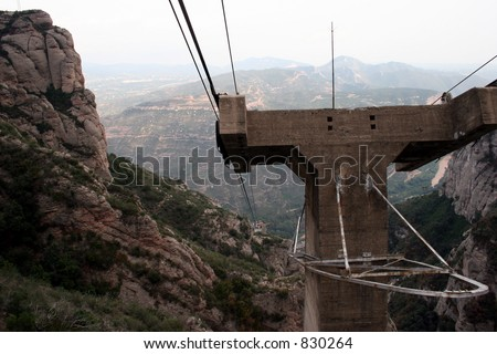 View from cable car during ride to Montserrat in Spain. - stock photo