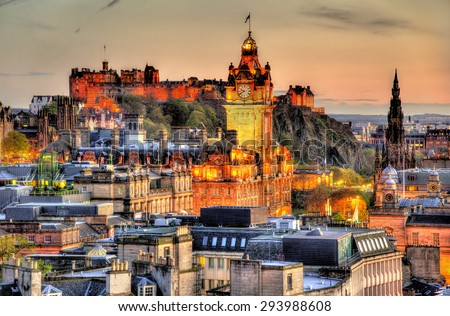 View from Calton Hill towards Edinburgh Castle - Scotland - stock photo