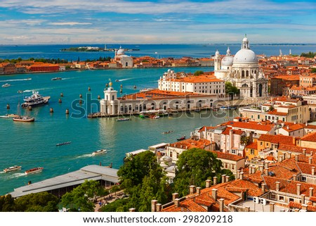 View from Campanile di San Marco to Grand Canal and Basilica di Santa Maria della Salute at summer morning in Venice, Italy - stock photo