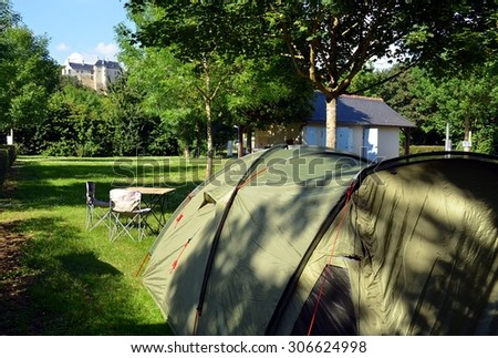 View from camping place on Chinon castle in France - stock photo