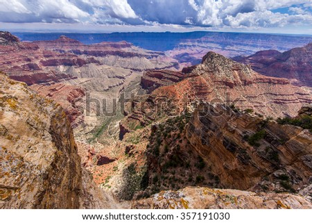 view from Cape Royal trail, Grand Canyon, North Rim - stock photo