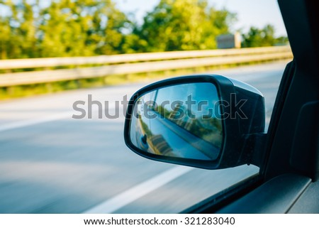 View From Car Window. Travel Concept.