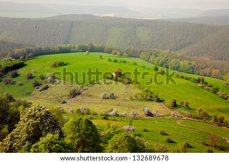 View from Castle Leuchtenburg - Thuringian landscape with fog - stock photo