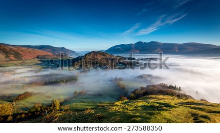 View from Catbells looking towards Skiddaw in The Lake District, Cumbria, England - stock photo