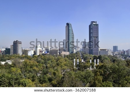 View from Chapultepec to Paseo de la Reforma avenue, Mexico City - stock photo
