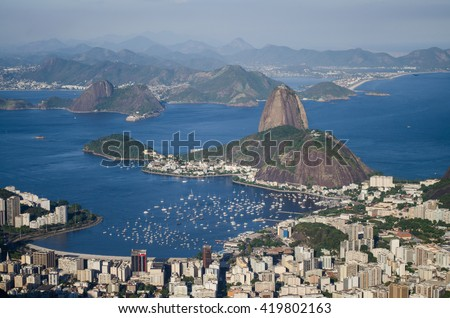 View from Christ the Redeemer to the Sugar Loaf in Rio de Janeiro, Brazil