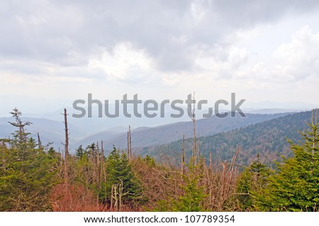 View from Clingman's Dome in the Smoky Mountains - stock photo