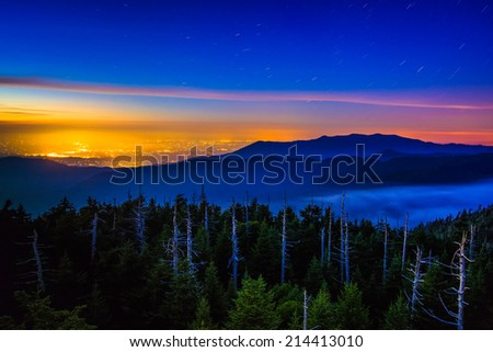 View from Clingman's Dome Observation Tower at night, in Great Smoky Mountains National Park, Tennessee. - stock photo