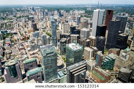 View from CN Tower of Downtown buildings - stock photo