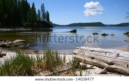 View from cove on Payette Lake near north shore, McCall Idaho - stock photo