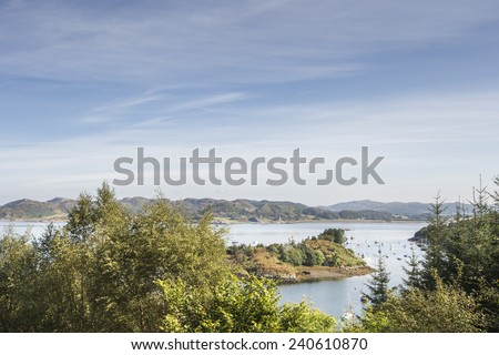 View from Crinan forest in Scotland. - stock photo