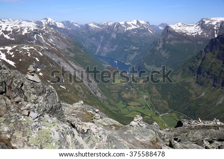View from Dalsnibba to Geiranger Fjord. Norway - stock photo