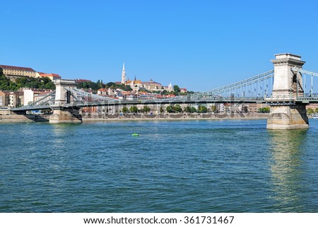 View from Danube on the Szechenyi Chain Bridge, Matthias Church and Fisherman's Bastion on the Castle hill in Budapest, Hungary