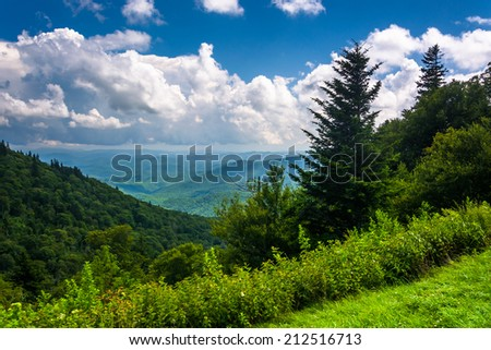View from Devils Courthouse Overlook, on the Blue Ridge Parkway in North Carolina.
