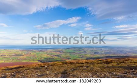 View from Djouce towards the Irish coast line - stock photo
